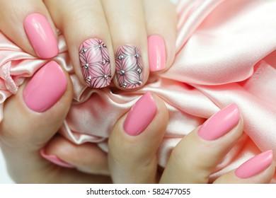 Manicure nail paint pink color. Nail Art Manicure.