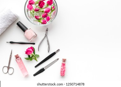 manicure and pedicure equipment for nail bar set on white background top view mockup