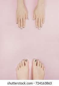 manicure and pedicure, pink background, european woman
