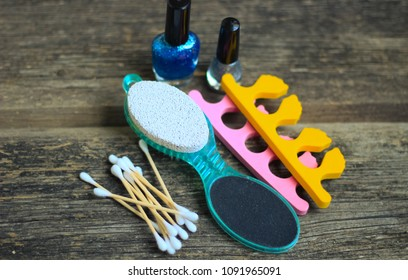 Manicure or pedicure tools on wooden table