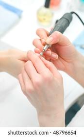 Manicure in process