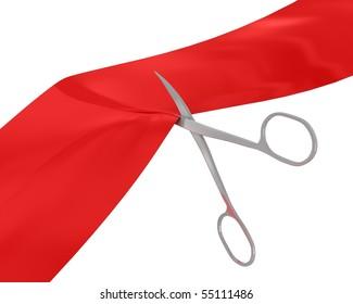 Manicure scissors cut the red ribbon