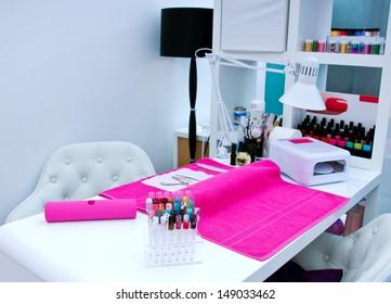manicure table in beauty studio