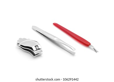 manicure tools isolated on white