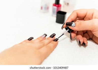 Manicure treatment at the beauty salon