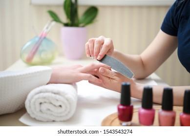 Manicure treatment in spa salon