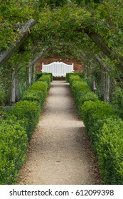 Manicured garden path leading to a white bench