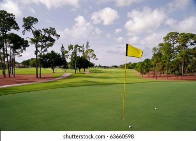 manicured golf green and fairway