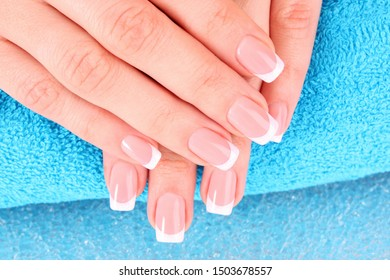 Manicured nails of a woman