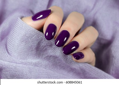 Manicured violet nails Nail Polish art design. Nail Polish.