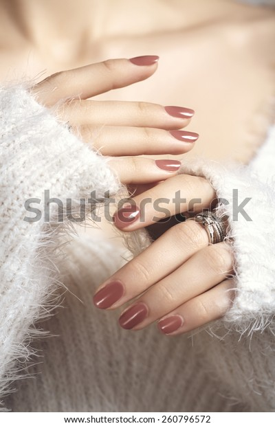 Manicured Woman Fingernails Natural Color Nail Stock Photo (Edit Now ...