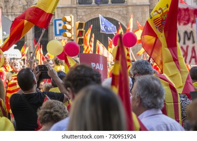 Manifestation pro - Spain in Barcelona. Unionists moved from all over Spain to Barcelona to protest against the referendum for independence. Protesting against Catalan Government.8 October 2017