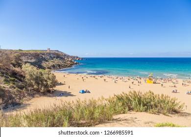 MANIKATA, MALTA - SEP 22, 2016: The famous beach Golden Bay