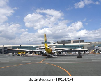 MANILA, PHILIPPINES—MARCH 2018: Wide view of the Ninoy Aquino International Airport 3 with a Cebu Pacific Air aircraft.