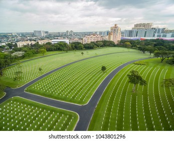 The Manila American Cemetery and Memorial. Located in Fort Bonifacio, Taguig City, Metro Manila. It has the largest number of graves of any cemetery for U.S. personnel killed during World War II