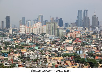 MANILA - April 2 2011: view over Ortigas from Makati towards Antipolo. Manila is the overcrowded capital of the Philippines and is located on the main island of Luzon.
