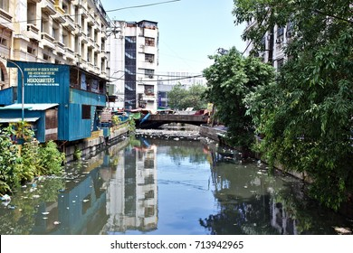 MANILA, April 23, 2016 - As a part of Manila Chinatown, an apartment block is mirroring itself in a water canal.