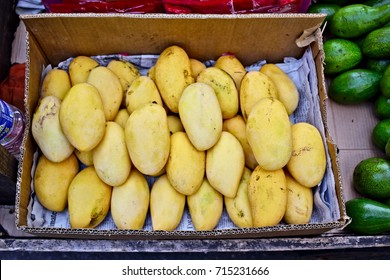 MANILA, April 23, 2016 - Yellow mangoes on sale at a market in Manila.