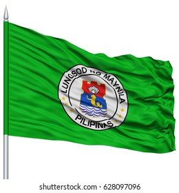Manila City Flag on Flagpole, Capital City of Philippines, Flying in the Wind, Isolated on White Background