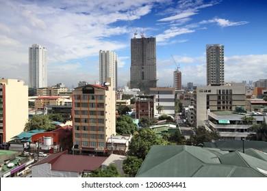 Manila city, Philippines. Skyline with Malate district.