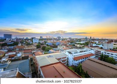 Manila city skyline in Philippines. Seen from Intramuros district.