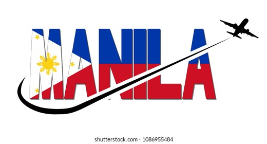 Manila flag text with plane silhouette and swoosh illustration
