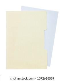 Manila folder blank paper isolated on white