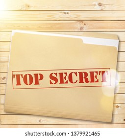 A manila folder with the faded words Top Secret on the front, isolated on a white background