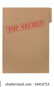 A manila folder with the faded words Top Secret on the front, isolated on a white background with clipping path.