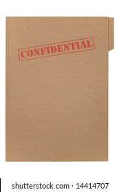 A manila folder with the feded word Confidential on the front, isolated on a white background with clipping path.