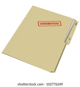 Manila folder stamped Confidential on white background