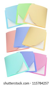 Manila Folders on White Background
