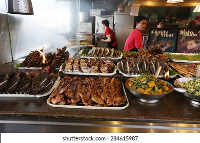MANILA - MAY 17: Diverse food at a philippine market in Taguig, Manila, Philippines on May 17, 2015.