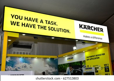 MANILA, PH - APR. 1: Karcher signage at Manila International Auto Show on April 1, 2017 in World Trade Center, Manila, Philippines.