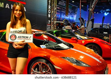 MANILA, PH - APR. 1: Unidentified Astron-7 female model at Manila International Auto Show on April 1, 2017 in World Trade Center, Manila, Philippines.