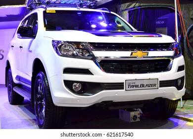 MANILA, PH - APR. 1: White Chevrolet Trailblazer SUVat Manila International Auto Show on April 1, 2017 in World Trade Center, Manila, Philippines.