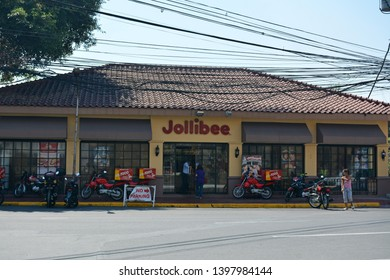 MANILA, PH - APR. 6: Jollibee fast food chain facade at Intramuros on April 6, 2019 in Manila, Philippines.