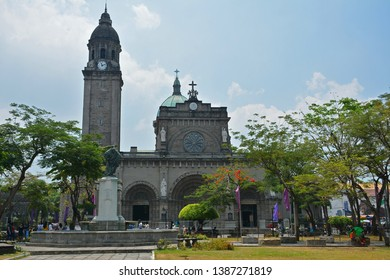 MANILA, PH - APR. 6: The Minor Basilica and Metropolitan Cathedral of the Immaculate Conception, also known as Manila Cathedral church facade at Intramuros on April 6, 2019 in Manila, Philippines.