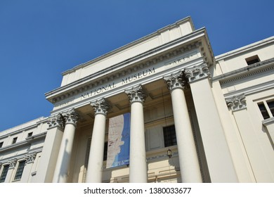 MANILA, PH - APR. 6: National Museum of Fine Arts facade on April 6, 2019 in Manila, Philippines. The Fine Arts Museum houses a collection of paintings and sculptures by classical Filipino artists