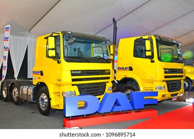 MANILA, PH - APR. 7: Daf trailer trucks on April 7, 2018 in Manila, Philippines. Manila International Auto Show is a automotive trade show organized in Manila, Philippines.