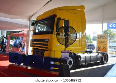 MANILA, PH - APR. 7: Daf XF semi trailer tractor truck at Manila International Auto Show on April 7, 2019 in World Trade Center, Manila, Philippines.