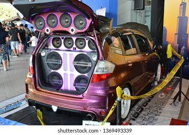 MANILA, PH - APR. 7: Honda Jazz with car speakers at Manila International Auto Show on April 7, 2019 in World Trade Center, Manila, Philippines.