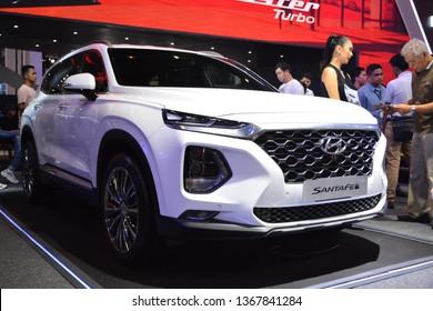 MANILA, PH - APR. 7: Hyundai Santa Fe SUV at Manila International Auto Show on April 7, 2019 in World Trade Center, Manila, Philippines.