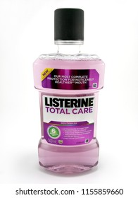 MANILA, PH - AUG. 13: Listerine mouthwash on August 13, 2018 in Manila, Philippines. Listerine brand is a manufacturer of mouthwash products.