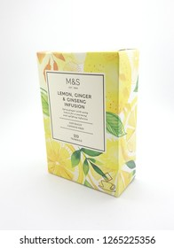 MANILA, PH - DEC. 23: Marks and Spencer lemon, ginger and ginseng infusion tea on December 23, 2018 in Manila, Philippines. Marks and Spencer brand is a manufacturer of food and fashion wear products.
