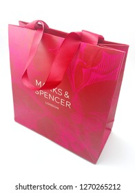 MANILA, PH - DEC. 26: Marks and Spencer paper bag on December 26, 2018 in Manila, Philippines. Marks and Spencer brand is a manufacturer of fashion clothing and food products in London.