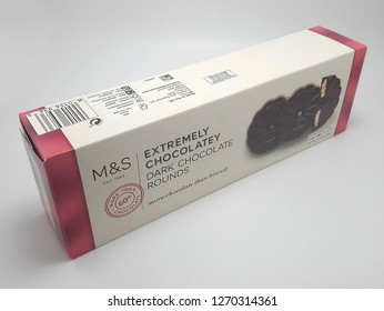 MANILA, PH - DEC. 26: Marks and Spencer dark chocolate rounds on December 26, 2018 in Manila, Philippines. Marks and Spencer brand is a manufacturer of fashion clothing and food products.