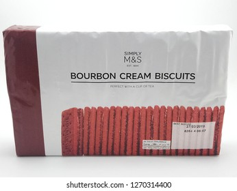 MANILA, PH - DEC. 26: Marks and Spencer bourbon cream biscuits on December 26, 2018 in Manila, Philippines. Marks and Spencer brand is a manufacturer of fashion clothing and food products.