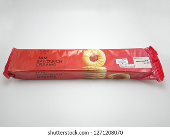 MANILA, PH - DEC. 26: Marks and Spencer jam sandwich creams on December 26, 2018 in Manila, Philippines.  Marks and Spencer brand is a manufacturer of clothing and food products.