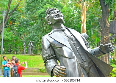 MANILA, PH - DEC. 29: The Martyrdom of Dr. Jose Rizal large metal statues on December 29, 2016 in Rizal Park, Manila, Philippines.